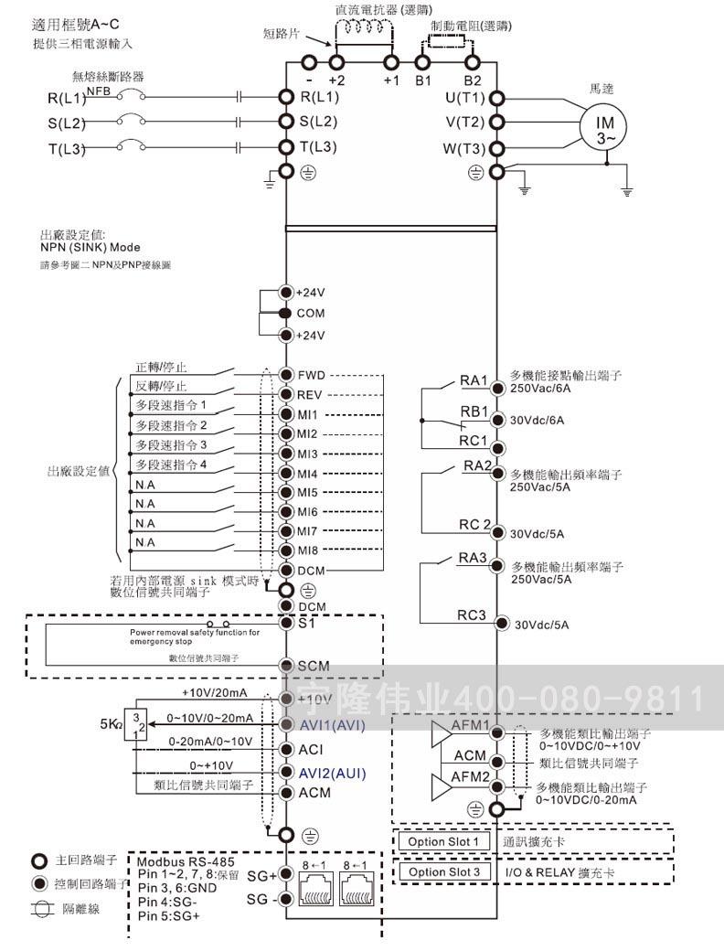 台达变频器接线图 cp2000系列接线图主回路端子图